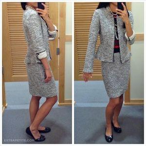 Ann Taylor Loft Knit Tweed Peplum Jacket